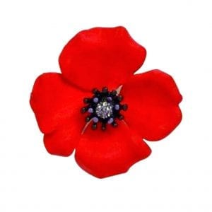 Sterling Silver Poppy Lapel Pin - Lest We Forget UK