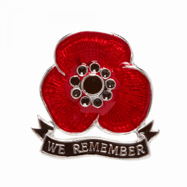 'We Remember' Sterling Silver Poppy Lapel Pin